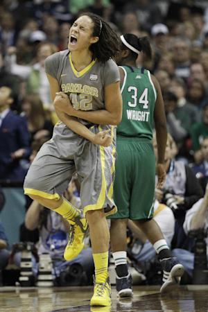 FILE - In this April 3, 2012, file photo, Baylor center Brittney Griner (42) reacts to her shot during the second half in the NCAA Women's Final Four college basketball championship game against the Notre Dame in Denver. Griner is getting ready for her senior season at Baylor, which is coming off the NCAA's first 40-win season.  (AP Photo/Eric Gay, File)