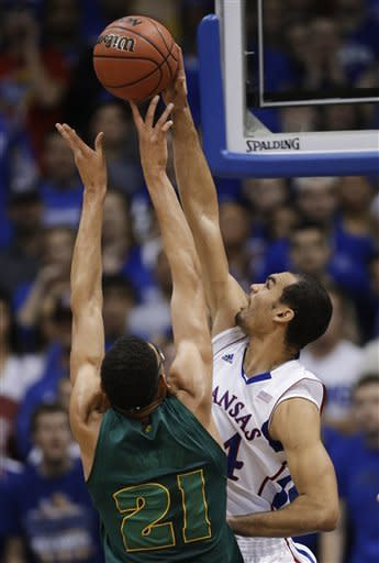 McLemore leads No. 4 Kansas past Baylor 61-44