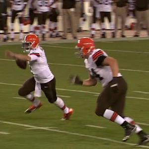 Cleveland Browns quarterback Johnny Manziel's scramble and pass for 27 yards