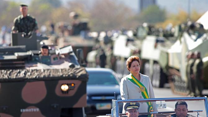 Brazil's President Dilma Rousseff stands as she attends a military parade on Independence Day in Brasilia, Brazil, Friday, Sept. 7, 2012. (AP Photo/Eraldo Peres)