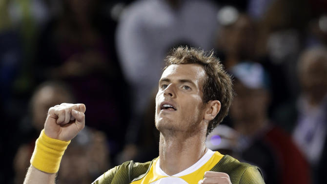 Andy Murray, of Britain, celebrates after defeating Richard Gasquet, of France, 6-7 (3), 1-6, 6-2 during a semifinal at the the Sony Open tennis tournament, Friday, March 29, 2013 in Key Biscayne, Fla. (AP Photo/Wilfredo Lee)