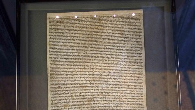 The Salisbury Magna Carta is displayed as part of a new interactive exhibition at Salisbury Cathedral in Salisbury,