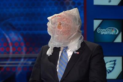 The former governor of Pennsylvania won't talk about the Eagles on TV without a plastic bag on his head