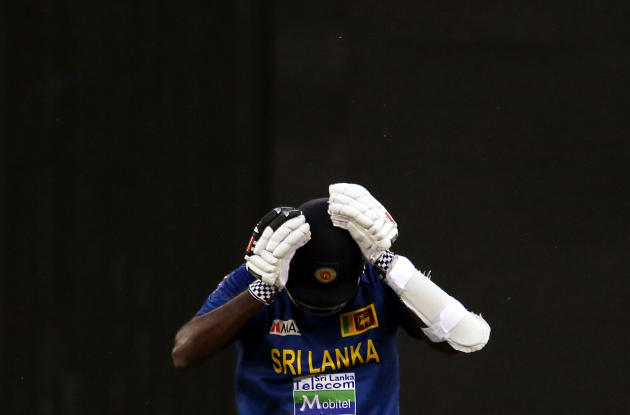 Sri Lanka's Mathews reacts after he was run out for 12 runs during the one-day international cricket match against Australia at the Melbourne Cricket Ground