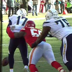 Kansas City Chiefs linebacker Justin Houston strip-sacks Chargers' Rivers, Chiefs recover the ball