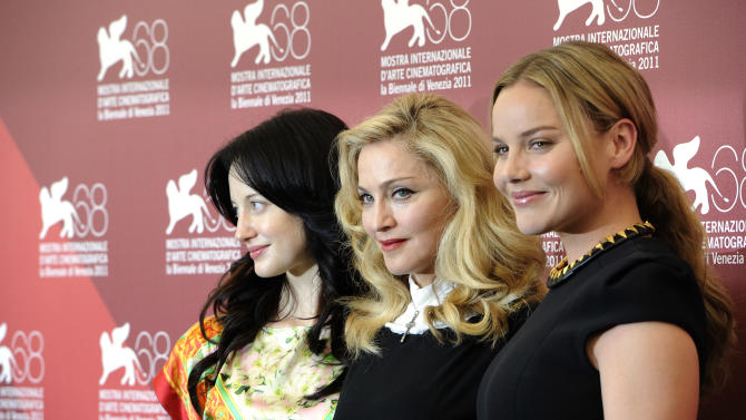 British actress Andrea Riseborough, US singer and director Madonna and Australian actress Abbie Cornish pose at the photo call for the film W.E. during the 68th edition of the Venice Film Festival in Venice, Italy, Thursday, Sept. 1, 2011. (AP Photo/Jonathan Short)