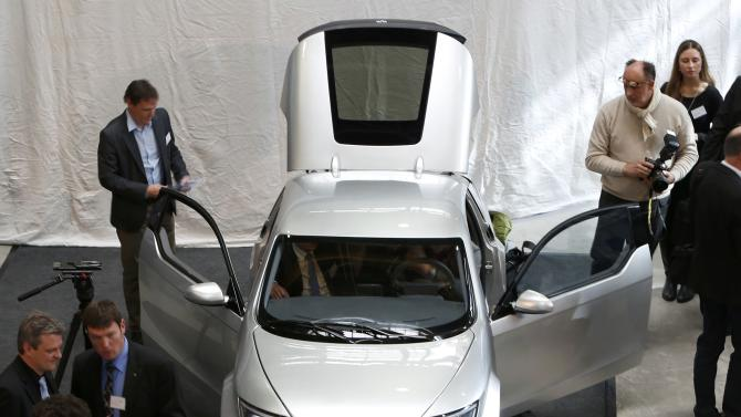 Electric car 'Visio.M' of TUM is displayed during an official presentation in Garching north of Munich