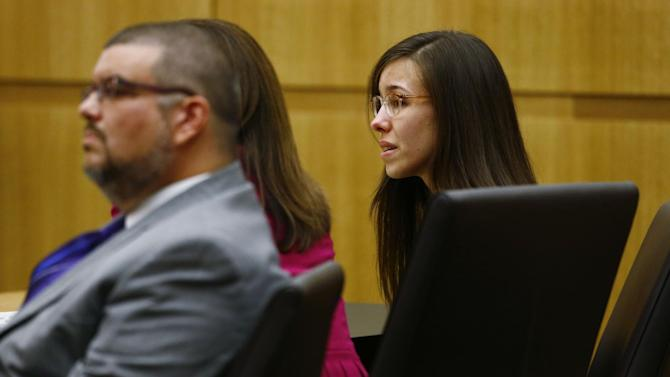 Jodi Arias reacts after she was found of guilty of first-degree murder in the gruesome killing her one-time boyfriend, Travis Alexander, in their suburban Phoenix home, Wednesday, May 8, 2013, at Maricopa County Superior Court in Phoenix.  (AP Photo/The Arizona Republic, Rob Schumacher, Pool)