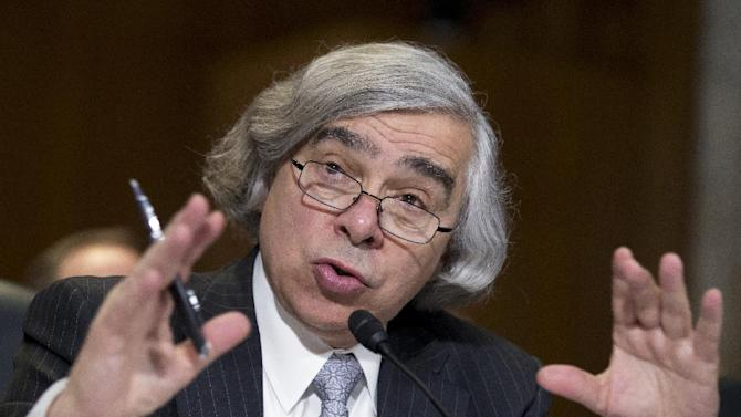 FILE – In this April 9, 2013 file photo, Energy Secretary nominee Ernest Moniz, of Massachusetts testifies on Capitol Hill in Washington. The Senate has unanimously confirmed President Barack Obama's nominee to lead the Energy Department. (AP Photo/Manuel Balce Ceneta, File)
