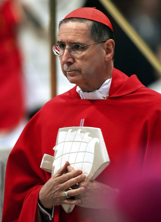 File photo of U.S. Cardinal Mahony arriving to attend a mass in Saint Peter's Basilica at the Vatican