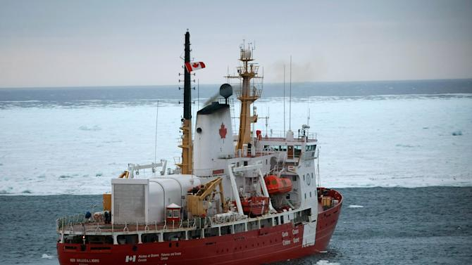 A Canadian Coast Guard ice breaker is seen in the water on March 30, 2008 in the Gulf of Saint Lawrence