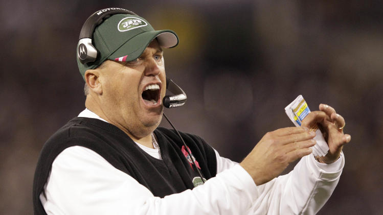 New York Jets head coach Rex Ryan reacts to a play during the first half of an NFL football game against the Baltimore Ravens in Baltimore, Sunday, Oct. 2, 2011. (AP Photo/Patrick Semansky)