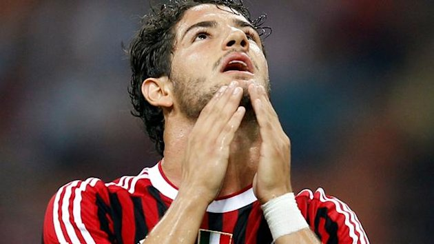 AC Milan's Pato reacts during their Serie A soccer match against Lazio at San Siro stadium in Milan September 9, 2011