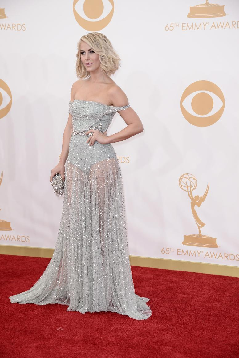 Julianne Hough, wearing Jenny Packham, arrives at the 65th Primetime Emmy Awards at Nokia Theatre on Sunday Sept. 22, 2013, in Los Angeles. (Photo by Dan Steinberg/Invision/AP)
