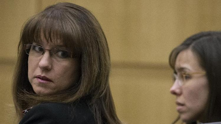 Defense attorney Jennifer Wilmott, left, listens to testimony during the Jodi Arias murder trial on Wednesday, April 24, 2013. Arias faces a potential death sentence if convicted of first-degree murder in the June 2008 killing of her one-time boyfriend at his suburban Phoenix home. Authorities say she planned the attack on Travis Alexander in a jealous rage. (AP Photo/The Arizona Republic, Mark Henle, Pool)