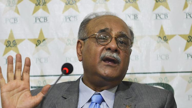 Najam Sethi, acting chairman of the Pakistan Cricket Board, speaks during a press conference in Lahore on June 30, 2014