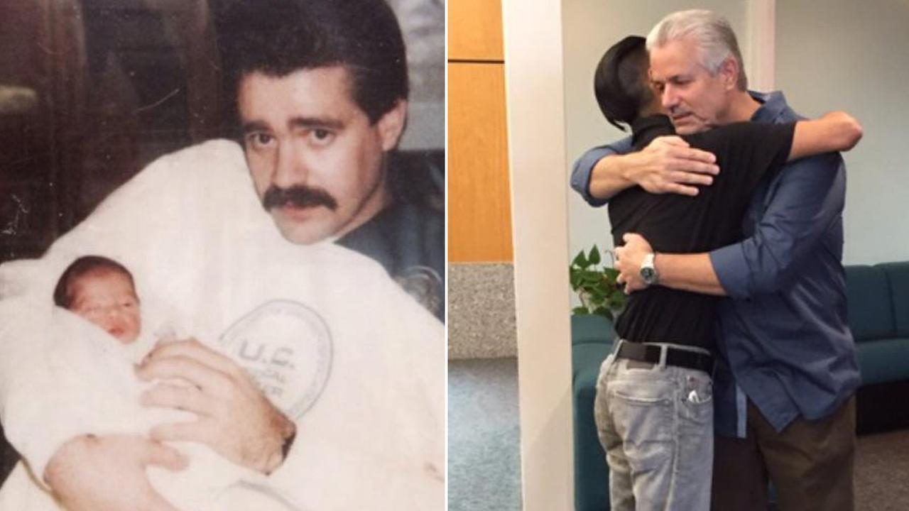 Retired police officer reunites with man he rescued as an abandoned baby