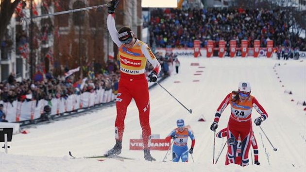 Justyna Kowalczyk of Poland wins the WC cross country sprint event in Drammen (Reuters)