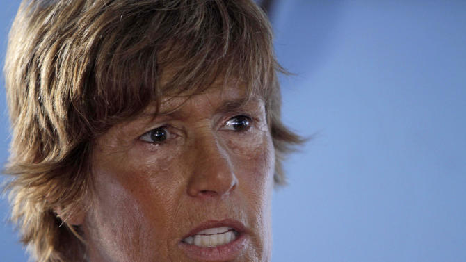 U.S. swimmer Diana Nyad, 61, speaks during a press conference in Havana, Cuba to announce her 103-mile crossing between Cuba and Key West in Florida, Sunday, Aug. 7, 2011. Nyad will begin her journey Sunday night and expects to accomplish her goal in approximately 60 hours. (AP Photo/Franklin Reyes)