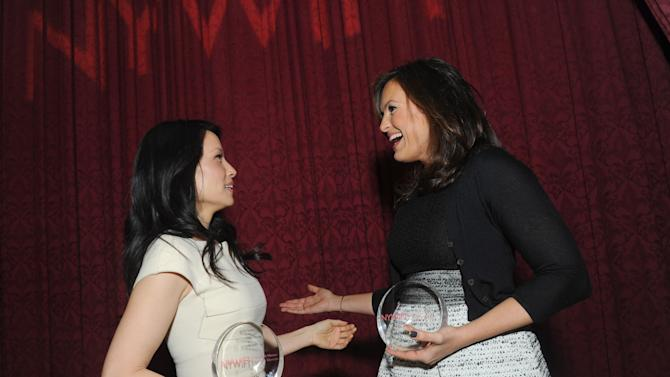 Mariska Hargitay, left, and Lucy Liu pose together after being honored at the 32nd annual Muse Awards presented by New York Women in Film & Television (NYWIFT), Thursday, Dec. 13, 2012, in New York.   (Diane Bondareff/Invision for NYWIFT/AP Images)