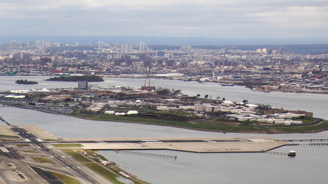 Rikers Island is seen in this aerial photograph taken in New York