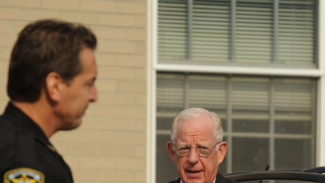 Judge John Cleland walks into the Centre County Courthouse for former Penn State University assistant football coach Jerry Sandusky's trial in Bellefonte, Pa., Friday, June 22, 2012.   Sandusky is accused of sexual abuse of 10 boys over a 15-year period. (AP Photo/Centre Daily Times, Nabil K. Mark)