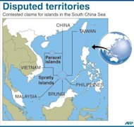 <p>Map showing the disputed Paracel and Spratly islands in the South China Sea.</p>