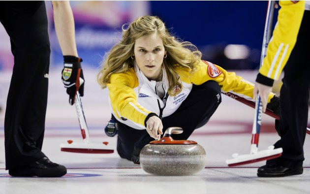 Manitoba skip Jones throws rock against Nova Scotia during Scotties Tournament of Hearts curling championship in Kingston