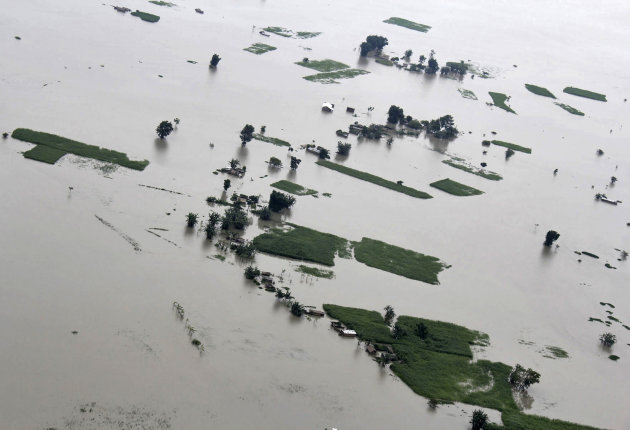 An aerial view shows the flood-affected areas of the Sonitpur district in Assam