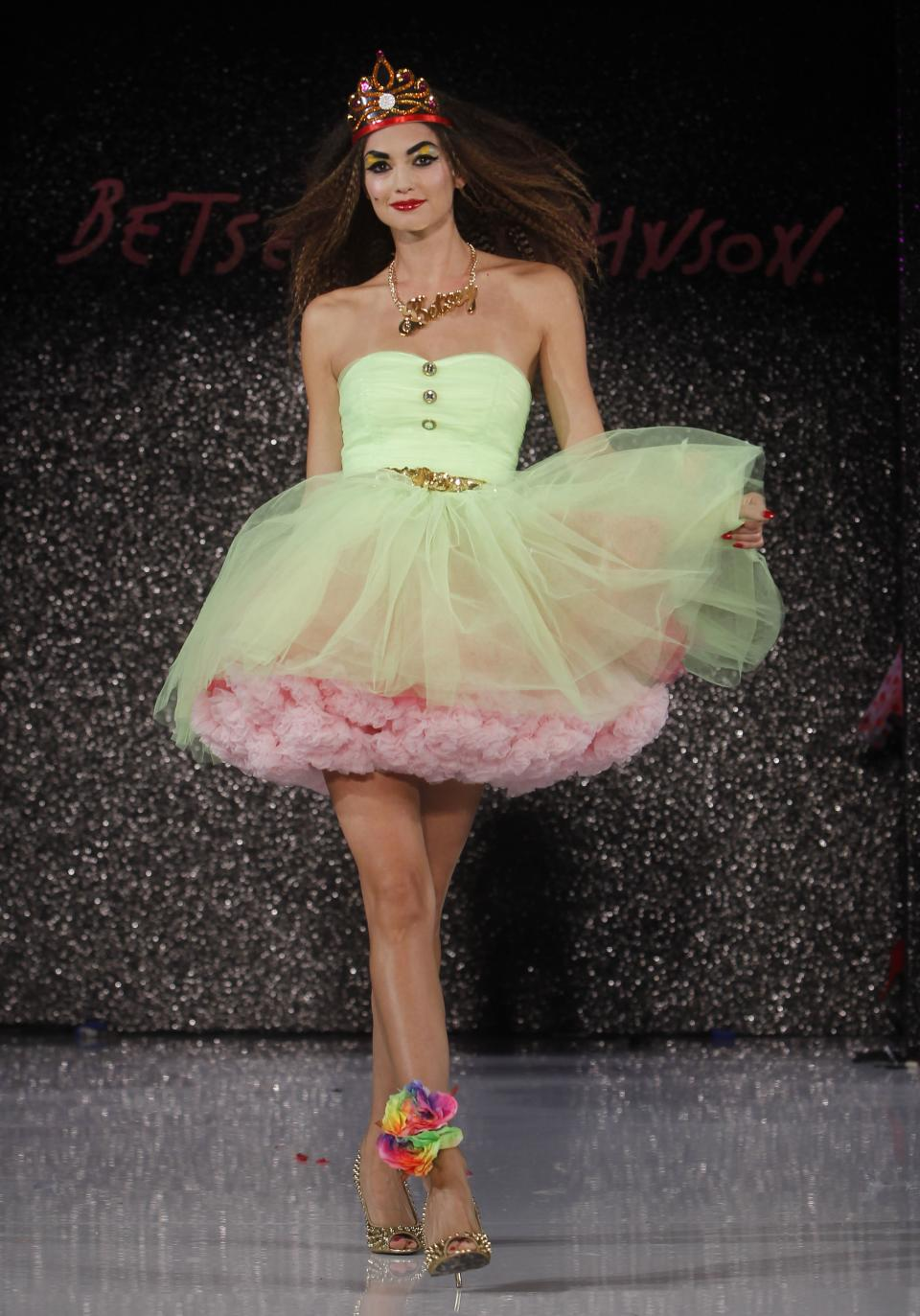 The Betsey Johnson Spring 2013 collection is modeled during Fashion Week, Tuesday, Sept. 11, 2012, in New York. (AP Photo/Jason DeCrow)