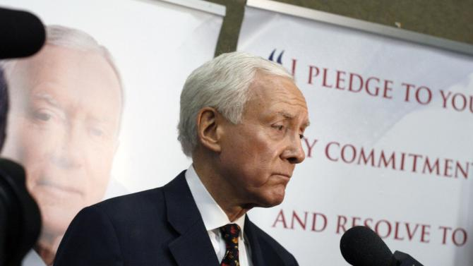 Senator Orrin Hatch speaks to reporters about being forced into a primary for the Republican nomination for U.S. Senate against Dan Liljenquist at the Utah Republican Party 2012 Nominating Convention at the South Towne Exposition Center in Sandy, Utah,  on Saturday, April 21, 2012.   (AP Photo/The Deseret News, Laura Seitz)  SALT LAKE TRIBUNE OUT; PROVO DAILY HERALD OUT; MAGS OUT