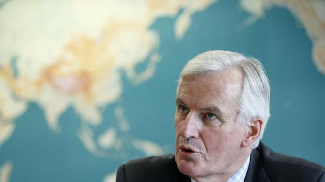 European Commissioner for Internal Market and Services Barnier answers questions during an interview with Reuters in Brussels