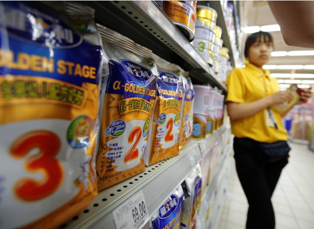 Yashili's milk powder products are displayed at a supermarket in Beijing
