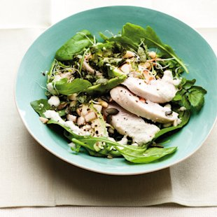 Super Greens Salad with Chicken recipe, 'Nourish, The Cancer Care Book', by Penny Brohn