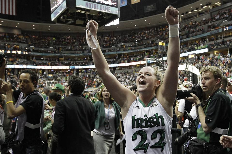 Notre Dame guard Brittany Mallory (22) celebrates victory after an NCAA women's Final Four semifinal college basketball game against Connecticut in Denver, Sunday, April 1, 2012. Notre Dame won 83-75. (AP Photo/Eric Gay)
