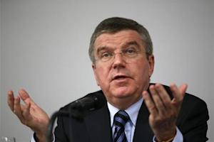 International Olympic Committee President Bach speaks during a news conference in Seoul