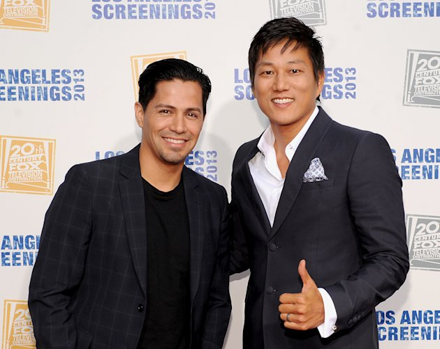 Jay Hernandez, left, and Sung Kang arrive at Twentieth Century Fox Television Distribution's 2013 LA Screenings Lot Party on Thursday, May 23, 2013 in Los Angeles, California. (Photo by Frank Micelott