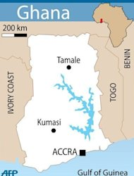 Map of Ghana where the country was plunged into mourning after the sudden death of president John Atta Mills five months ahead of elections in the country seen as a bastion of democracy in west Africa