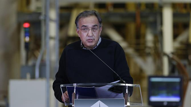 Chrysler Group Chairman and CEO Sergio Marchionne speaks at a news conference at the Mack I Engine Plant in Detroit, Thursday, Nov. 15, 2012. Chrysler plans to add 1,250 jobs at three Detroit-area factories in the near future. Most of the jobs are for a third shift at the Warren truck plant, which will build more Ram pickups. The hiring is another step in Chrysler's comeback from its 2009 government-funded bankruptcy. The company is now majority-owned by Italian automaker Fiat. (AP Photo/Paul Sancya)