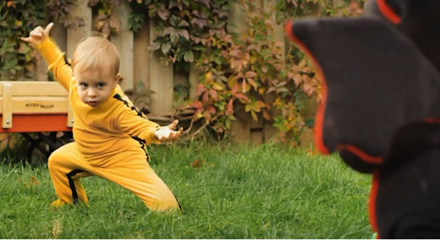 A kung fu baby became a YouTube sensation after demonstrating his &amp;#39;Kill Bill&amp;#39; skills. Romeo Elvis Bulte Boivin slays his deadly stuffed dragon nemesis in a minute long video captured by his fa