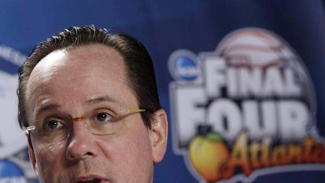Wichita State head coach Gregg Marshall speaks to the media during a news conference at the Final Four of the NCAA college basketball tournament, Thursday, April 4, 2013, in Atlanta. Wichita State plays Louisville in a national semifinal on Saturday. (AP Photo/John Bazemore)