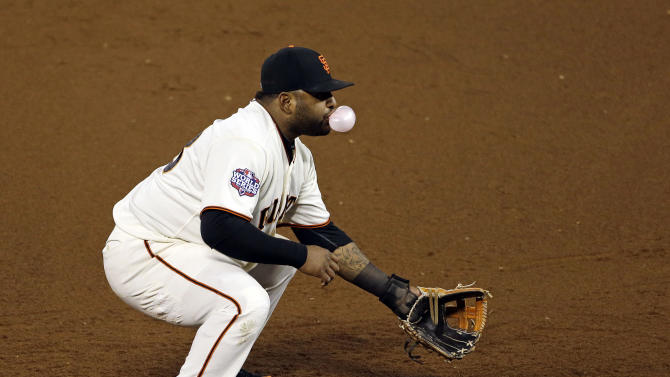 San Francisco Giants third baseman Pablo Sandoval blows a bubble during the sixth inning of Game 2 of baseball's World Series against the Detroit Tigers Thursday, Oct. 25, 2012, in San Francisco. (AP Photo/Jeff Chiu)