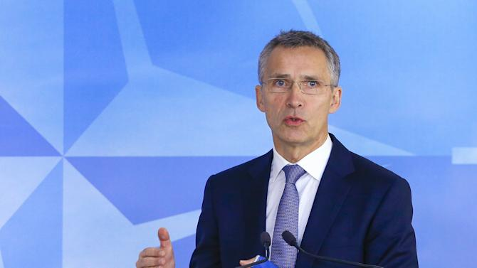 NATO Secretary-General Jens Stoltenberg speaks at the start of a meeting of the NATO foreign affairs ministers at the Alliance headquarters in Brussels