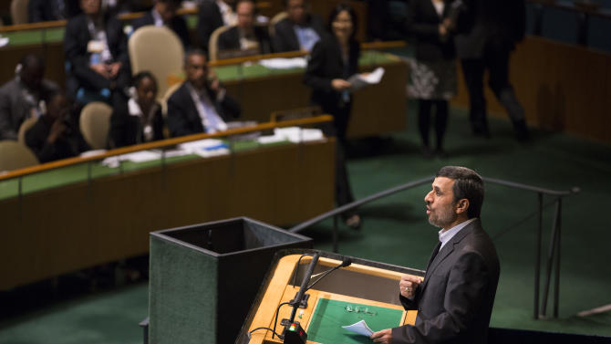 Iranian president Mahmoud Ahmadinejad speaks at the high level meeting on rule of law in the United Nations General Assembly, at U.N. headquarters, Monday, Sept. 24, 2012. (AP Photo/John Minchillo)