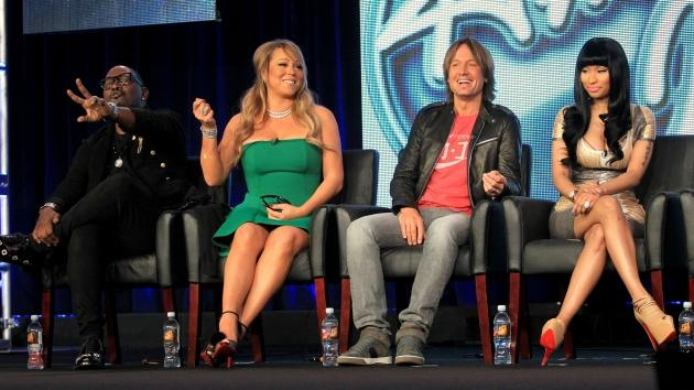 Judges Randy Jackson, Mariah Carey, Keith Urban and Nicki Minaj of 'American Idol' speak onstage during the FOX portion of the 2013 Winter TCA Tour at Langham Hotel on January 8, 2013 -- Getty Images