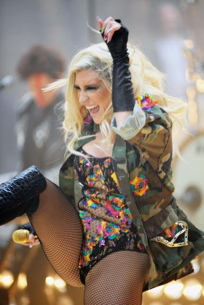 Ke$ha gets a kick out of her performance on NBC's 'Today' show at Rockefeller Plaza in New York City on November 20, 2012 -- Getty Images