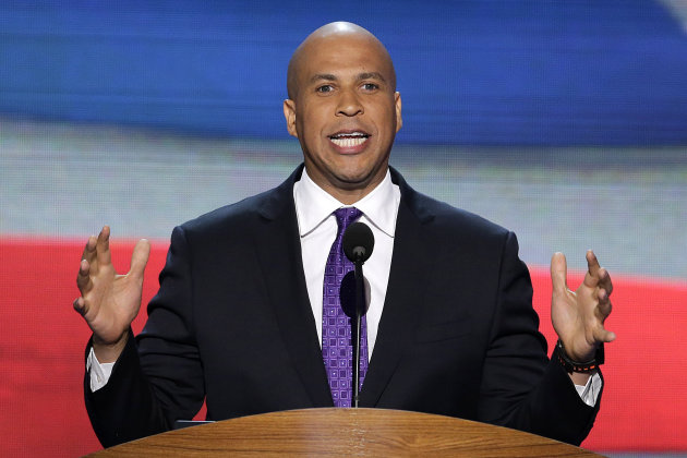 "FILE - In this Sept. 4, 2012, file photo, Newark, N.J., Mayor Cory Booker addresses the Democratic National Convention in Charlotte, N.C. In a 1992 column in The Stanford Daily, his college newspaper, Booker wrote that he was ""disgusted by gays"" before a transformative experience with a gay peer counselor changed his views. (AP Photo/J. Scott Applewhite, File)"