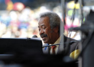 Allen Toussaint performs at the New Orleans Jazz and Heritage Festival in New Orleans, Saturday, May 5, 2012. (AP Photo/Gerald Herbert)