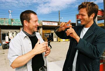 Screenwriter Lars von Trier and director Thomas Vinterberg on the set of Wellspring Media's Dear Wendy