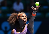 Serena Williams of the US serves against compatriot Sloane Stephens during their clash at the Australian Open on January 23, 2013. The 2013 Fed Cup World Group gets under way Saturday with the tournament missing marquee names Williams and Maria Sharapova and with a late format tweak aimed at boosting the event&#39;s appeal